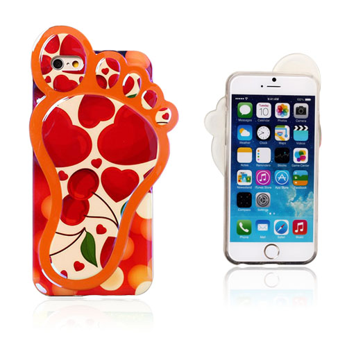 3D Foot (Rød Hjerter - Cherry) iPhone 6 Deksel