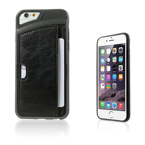 Valeur (Sort) iPhone 6 Lær Card Holder Deksel