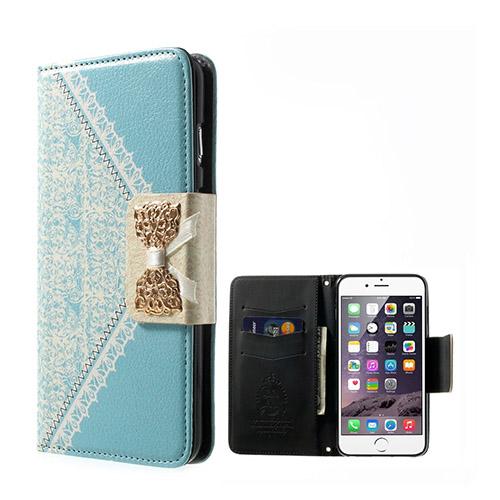 Bilde av Bowknot (lyse Blå) Iphone 6 Plus Lær Flipp Case