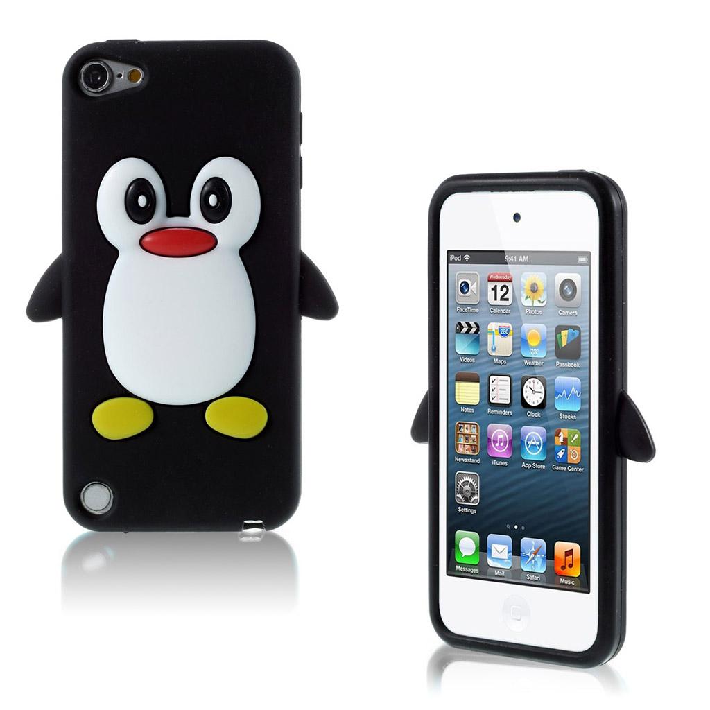 Bilde av Ipod Touch 6 Beskyttelses Deksel I Silikon Med 3d Pingvin - Svart