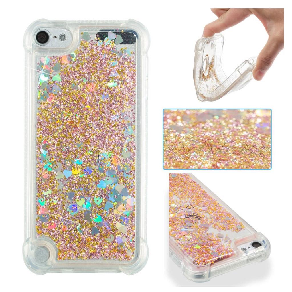 Bilde av Ipod Touch 6 Beskyttelses Deksel I Silikon Med Flytende Glitter Pulver I Hjerteform - Gull