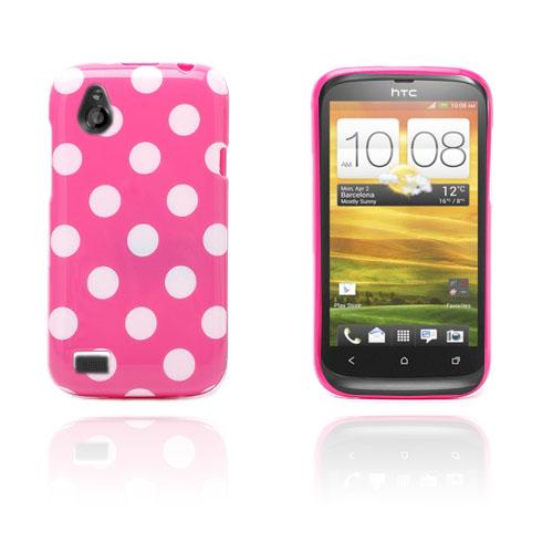 prikker (varm rosa / hvit) HTC Desire V Deksel