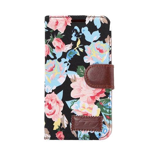 Hagerup HTC One M9 lær Case med Kort Holder - Sort Elegant Blomster