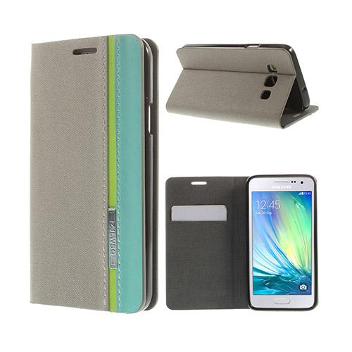 Trenter Samsung Galaxy A3 Lær Flipp Etui - Grå