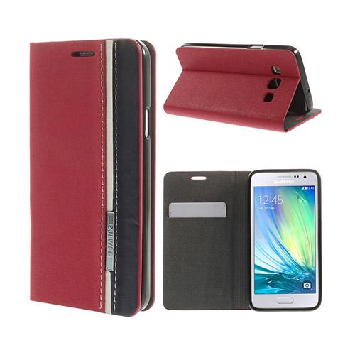 Trenter Samsung Galaxy A3 Lær Flipp Etui - Rød
