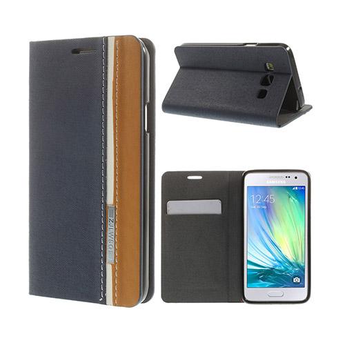 Trenter Samsung Galaxy A3 Lær Flipp Etui - Blå
