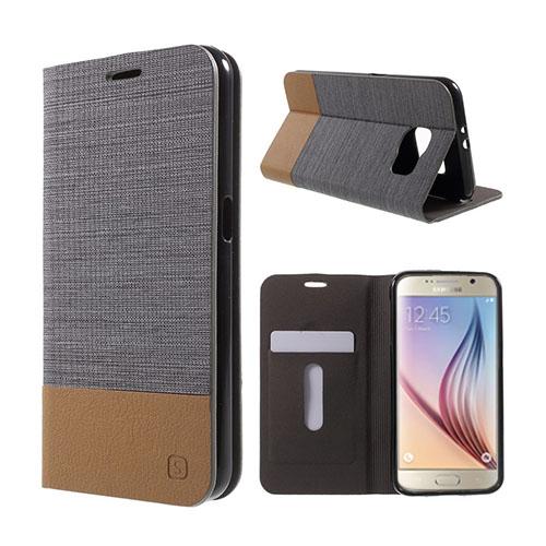 Square Samsung Galaxy S6 lær Case med Kort Holder - Mørke Grå
