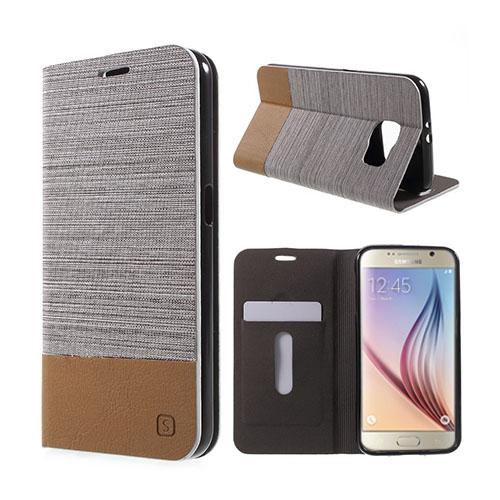 Square Samsung Galaxy S6 lær Case med Kort Holder - Lyse Grå