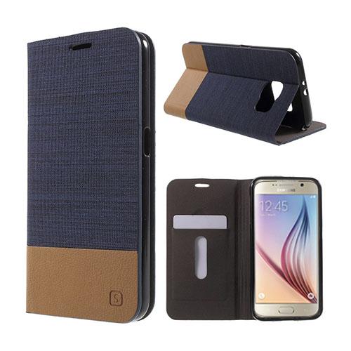 Square Samsung Galaxy S6 lær Case med Kort Holder - Mørke Blå