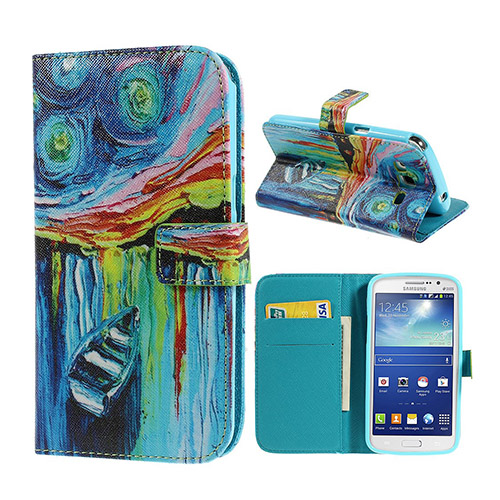 Van Gogh (Starry Night - Boat) Samsung Galaxy Grand 2 Lær Flipp Etui