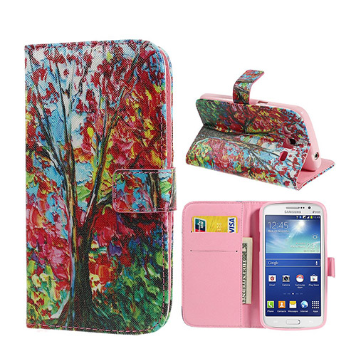 Van Gogh (Rød Blader Tre) Samsung Galaxy Grand 2 Lær Flipp Etui