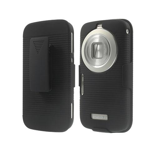 Stripe Samsung Galaxy K Zoom Lær Belt Etui - Sort