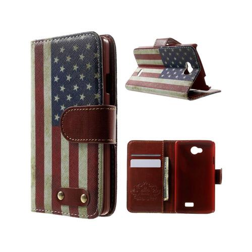 Hagerup LG F60 lær Case med Kort Holder - Vintage USA Flagg