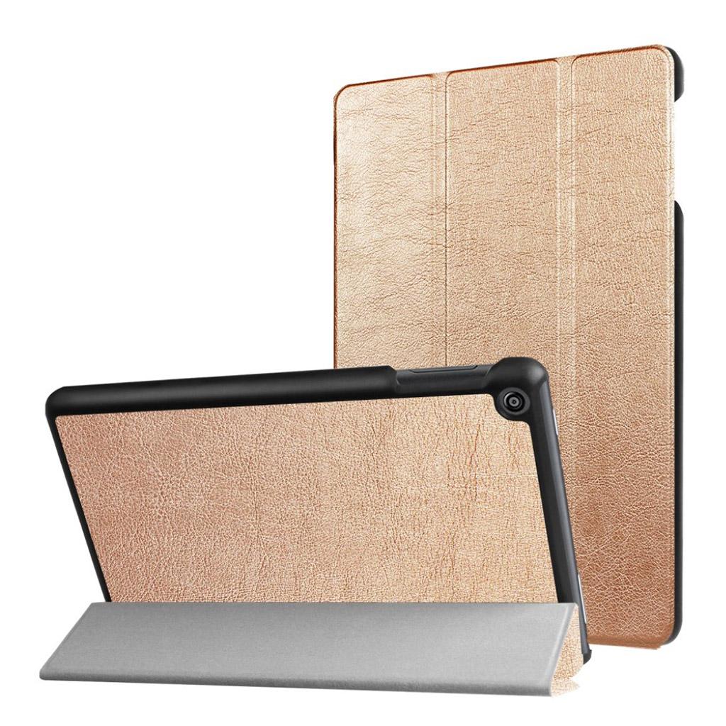 Bilde av Amazon Fire Hd 8 (2017) Tri-fold Litchi Texture Pu Leather Flip Case - Gold