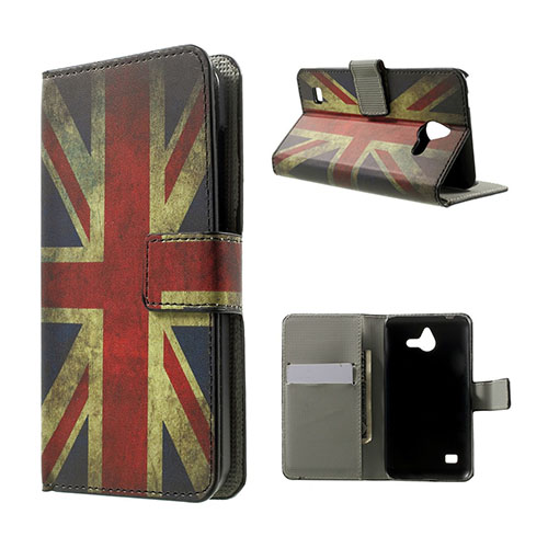 Moberg Huawei Ascend Y550 Lær Flipp Etui - Vintage UK Flagg