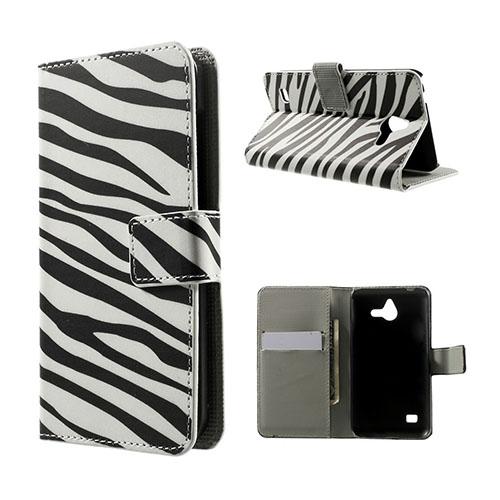 Moberg Huawei Ascend Y550 Lær Flipp Etui - Zebra Striper