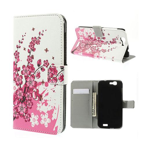Moberg Huawei Ascend G7 Lær Flipp Etui - Plumme Blomstrer