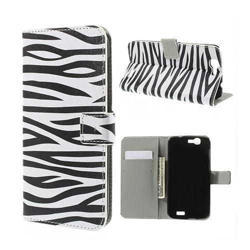 Moberg Huawei Ascend G7 Lær Flipp Etui - Zebra Striper