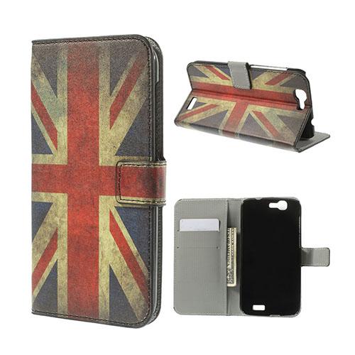 Moberg Huawei Ascend G7 Lær Flipp Etui - Vintage UK Flagg