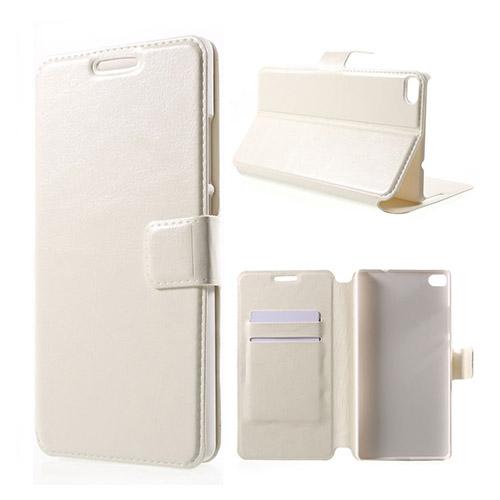 Mankell Huawei Ascend P8 Lær Stand Case med Kortholder - Hvit