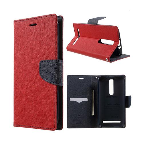 Bilde av Mercury Asus Zenfone 2 Lær Case Med Kort Holder - Rød