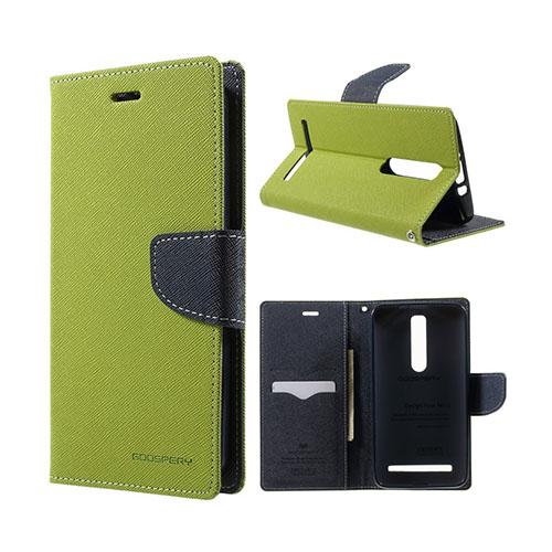 Bilde av Mercury Asus Zenfone 2 Lær Case Med Kort Holder - Grønn