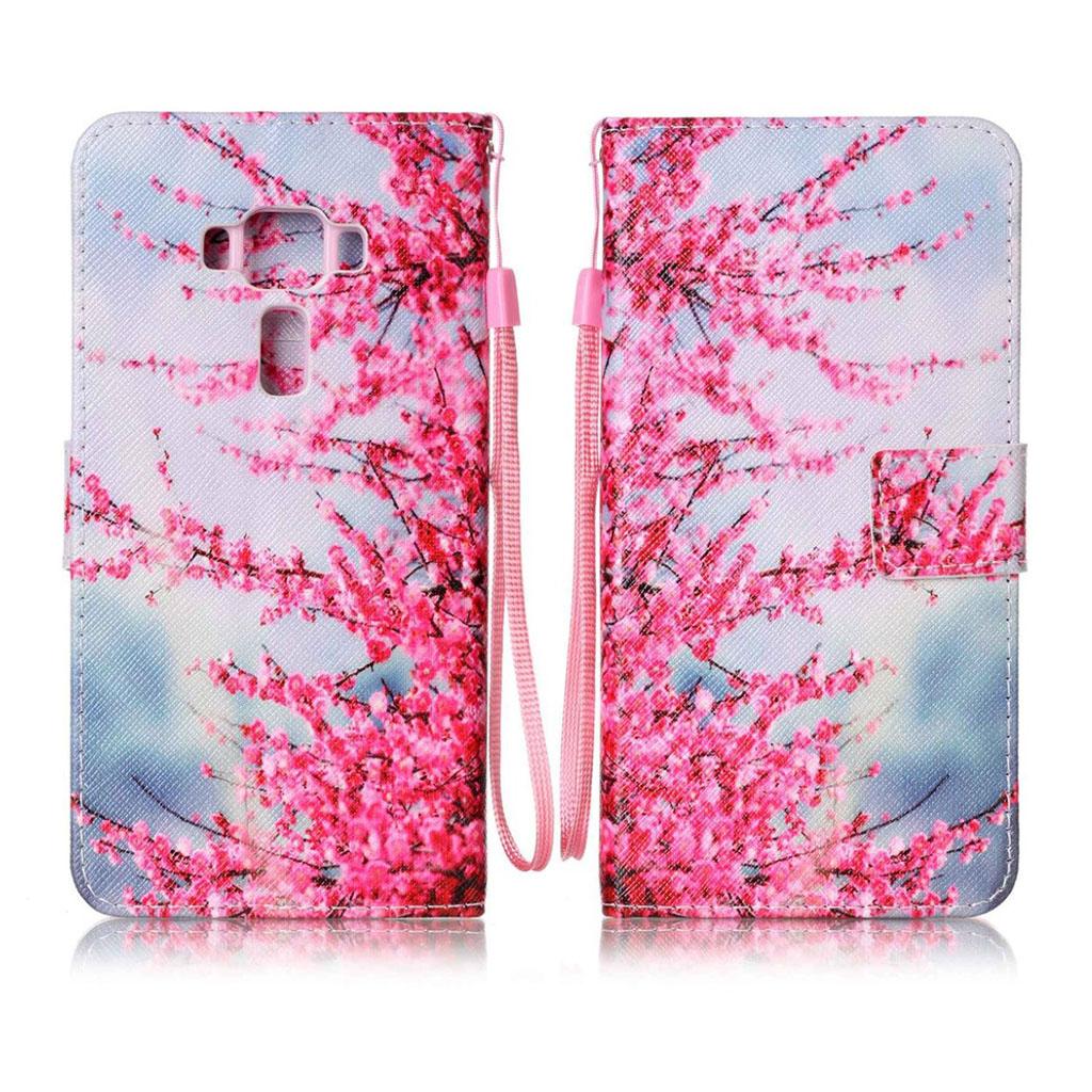 Bilde av Asus Zenfone 3 Deluxe Lommeboketu Av Lær M/ Stropp - Klare Blomster