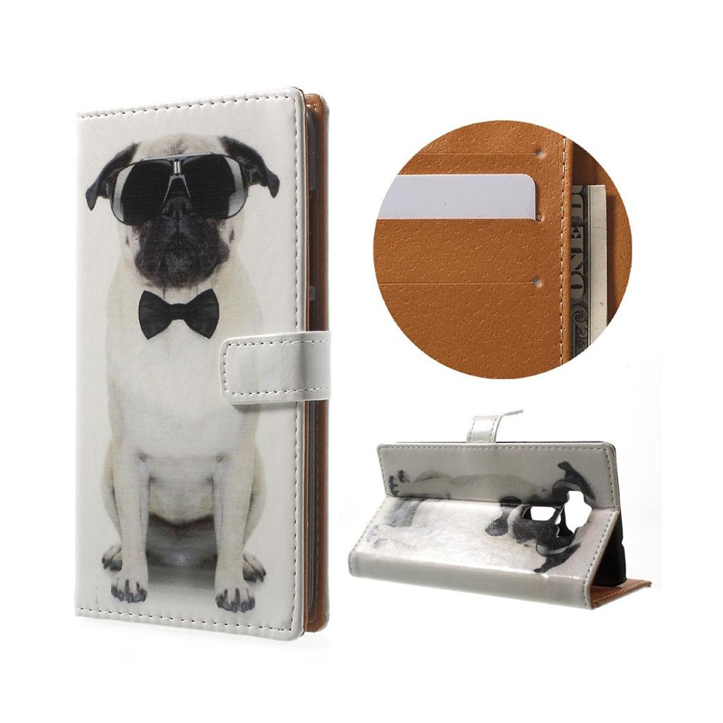 Bilde av Asus Zenfone 3 Lommeboketui Av Lær M/ Motiv - Hund Med Solbriller