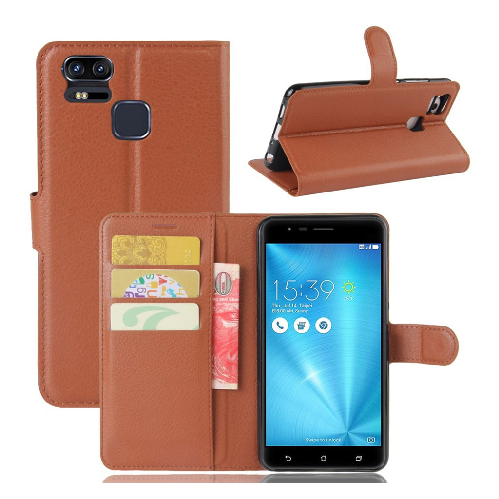 Bilde av Asus Zenfone Zoom S (ze553kl) Litchi Grain Pu Leather Flip Case - Brown
