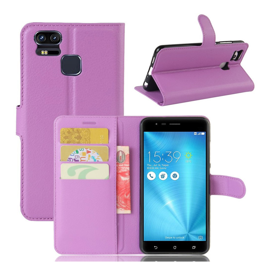 Bilde av Asus Zenfone Zoom S (ze553kl) Litchi Grain Pu Leather Flip Case - Purple