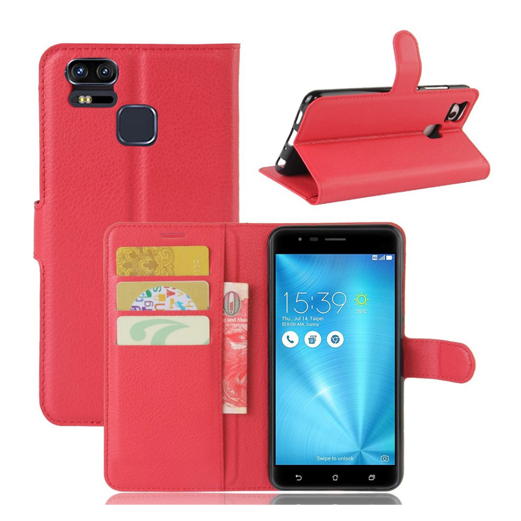 Bilde av Asus Zenfone Zoom S (ze553kl) Litchi Grain Pu Leather Flip Case - Red