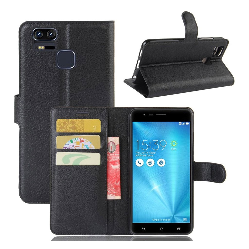 Bilde av Asus Zenfone Zoom S (ze553kl) Litchi Grain Pu Leather Flip Case - Black
