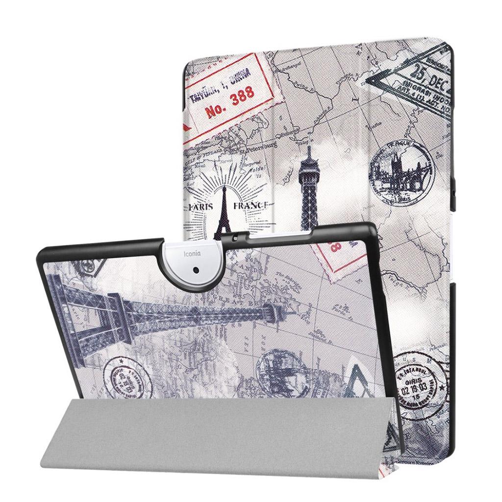Bilde av Acer Iconia Tab 10 B3-a40 Mønster Tri-fold Pu Lær Flip Etui - Eiffel Tårn Og Map