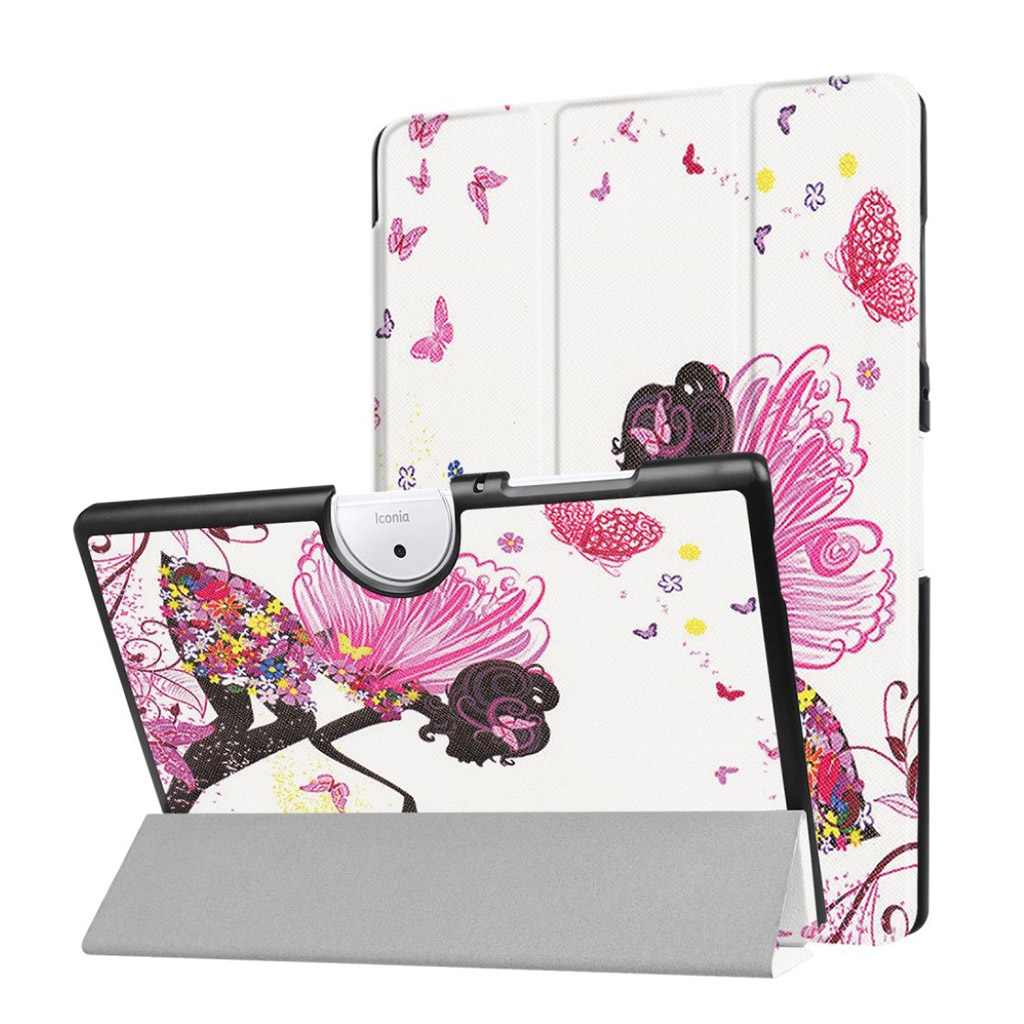 Bilde av Acer Iconia Tab 10 B3-a40 Pattern Tri-fold Pu Leather Flip Case - Flowered Girl With Wings