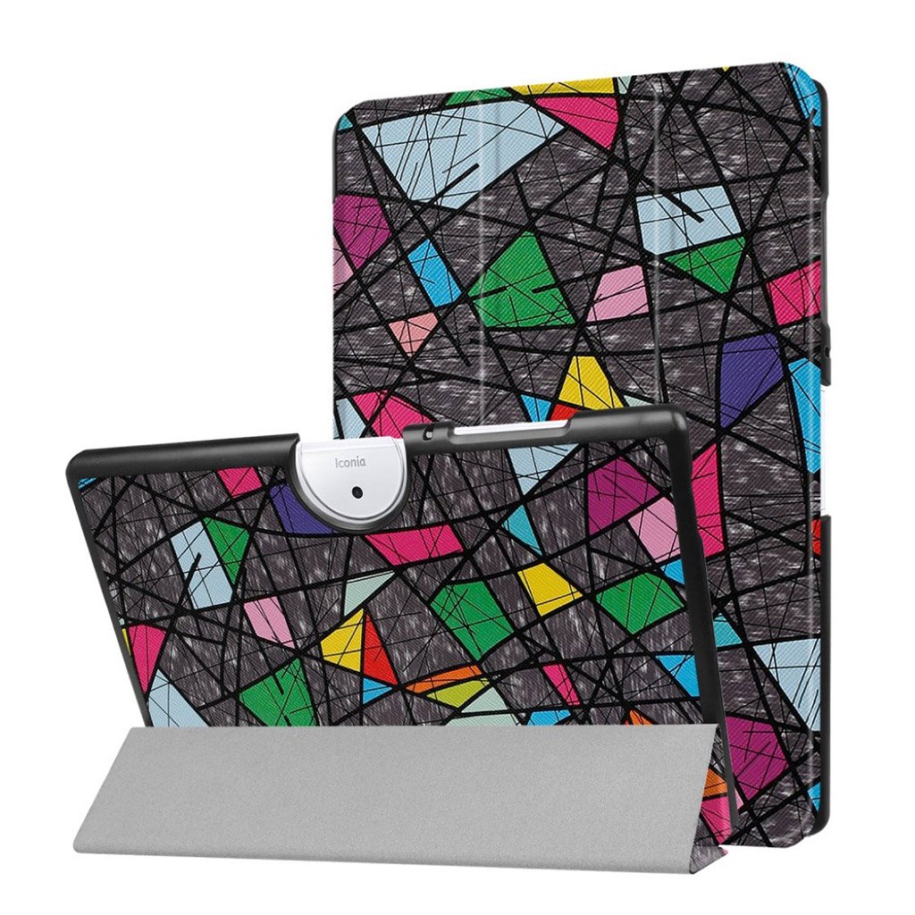 Bilde av Acer Iconia Tab 10 B3-a40 Pattern Tri-fold Pu Leather Flip Case - Geometric Pattern And Lines