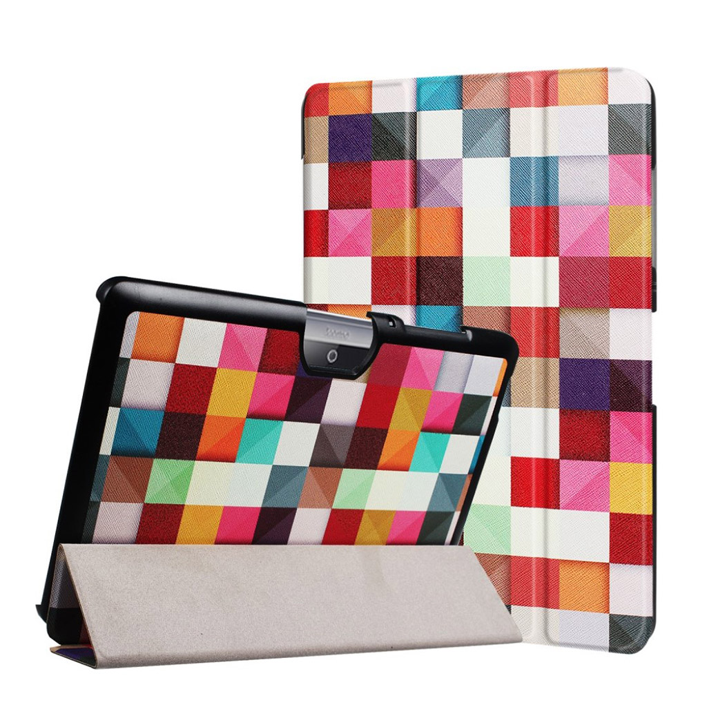 Bilde av Acer Iconia Tab 10 B3-a30 Pattern Tri-fold Pu Leather Flip Case - Colorful Triangle Grid