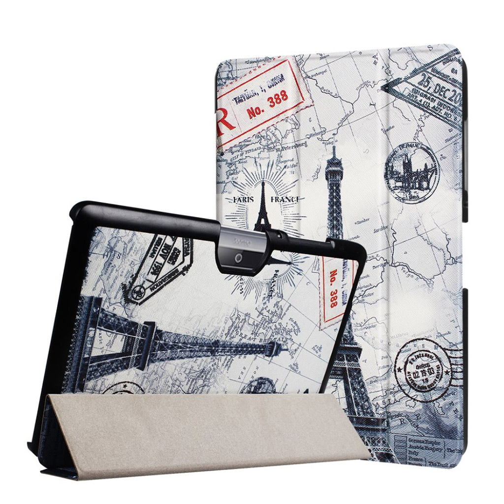 Bilde av Acer Iconia Tab 10 B3-a30 Pattern Tri-fold Pu Leather Flip Case - Eiffel Tower And Map