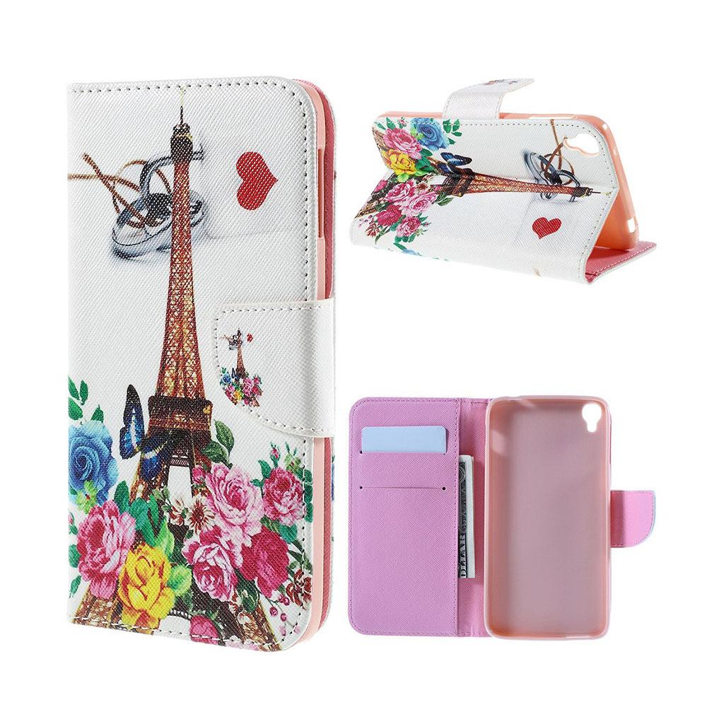 Bilde av Scherfig Etui Av Lær For Alcatel Onetouch Idol 3 - Eiffeltårnet Og Roser