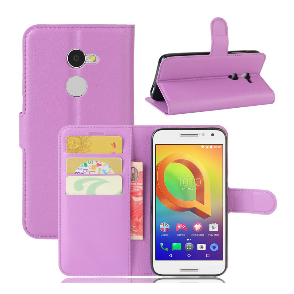 Bilde av Alcatel A3 Lychee Skin Pu Leather Flip Case - Purple