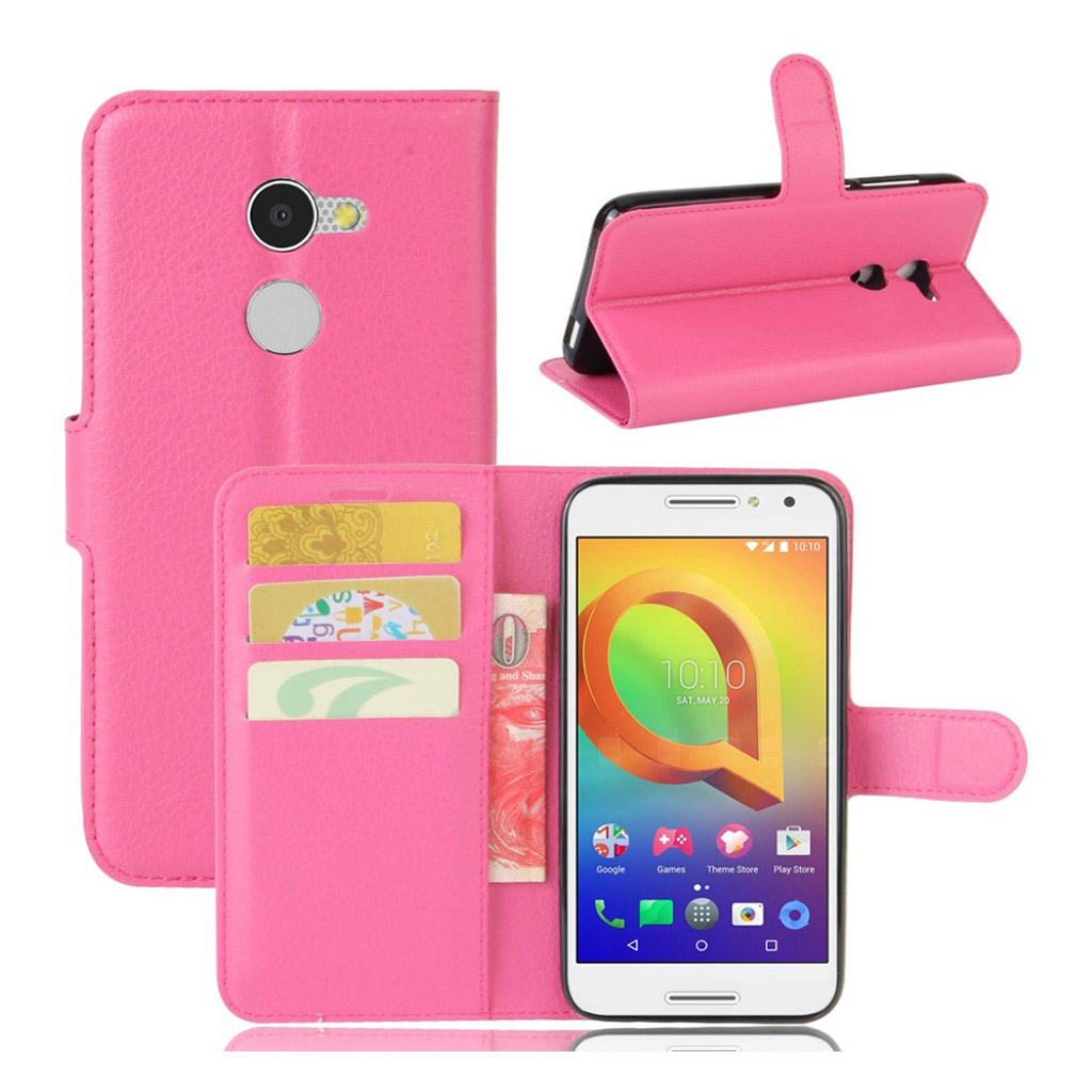 Bilde av Alcatel A3 Lychee Skin Pu Leather Flip Case - Rose