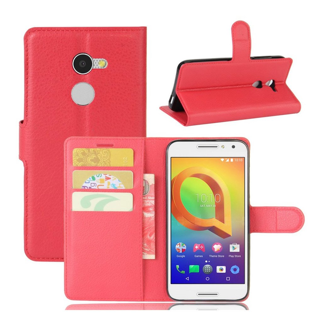 Bilde av Alcatel A3 Lychee Skin Pu Leather Flip Case - Red