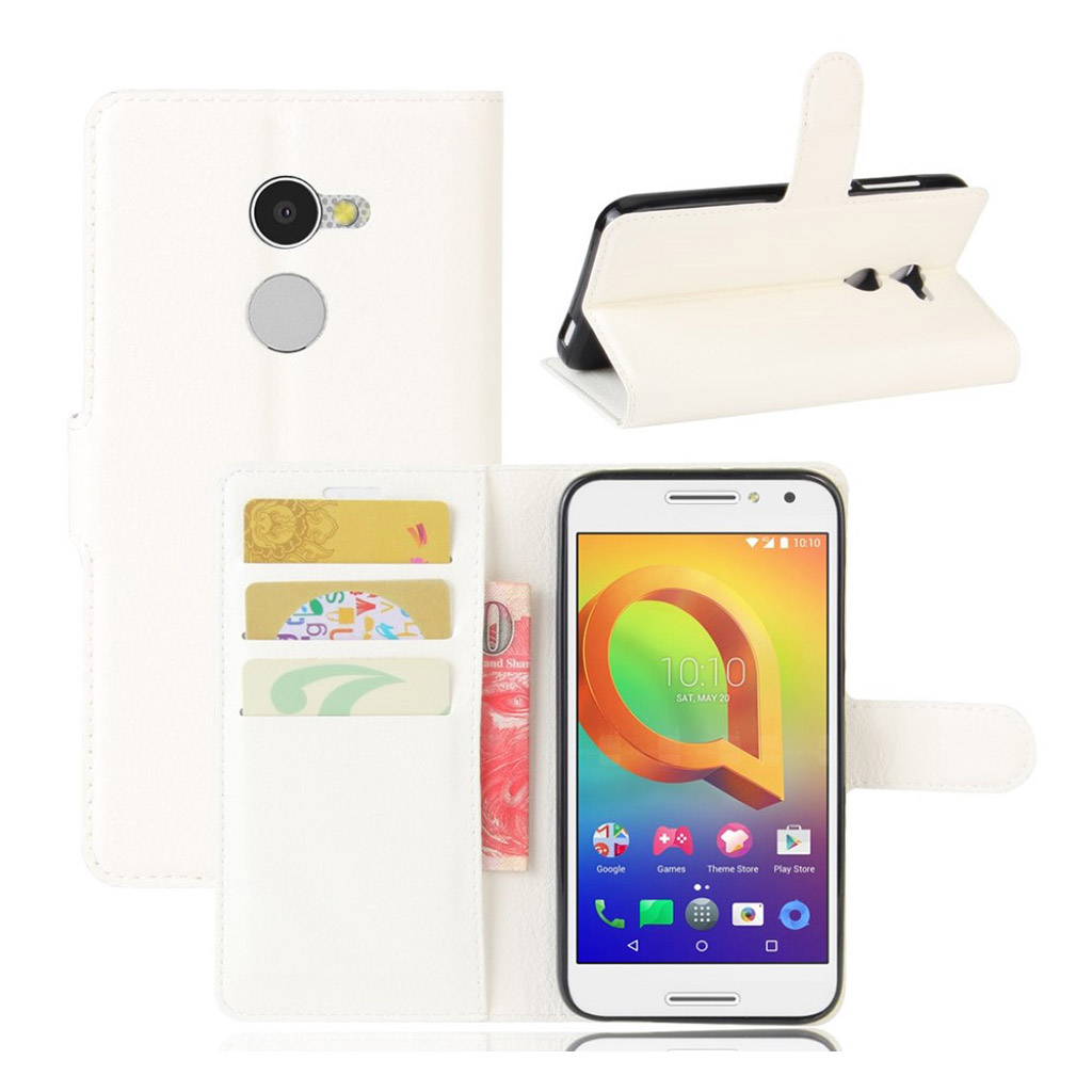 Bilde av Alcatel A3 Lychee Skin Pu Leather Flip Case - White