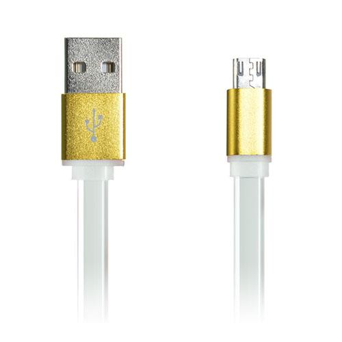 Bilde av 1m 2A Flat Micro USB ladekabel for Smartphones og Tablets - Hvit