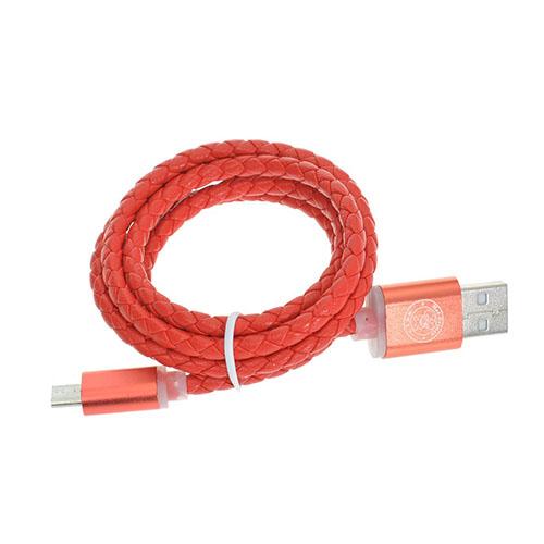 Bilde av 1m 1m HAT PRINCE 1.8A ekte skinn Micro USB Data ledning. Sync - ladekabel - Rød