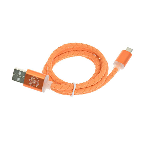 Bilde av 1m 1m HAT PRINCE 1.8A ekte skinn Micro USB Data ledning. Sync - ladekabel - Orange