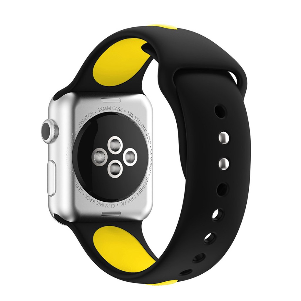 Bilde av Apple Klokkearmbånd Tofarget 38 Mm Laget Av Silikon - Svart Og Gul
