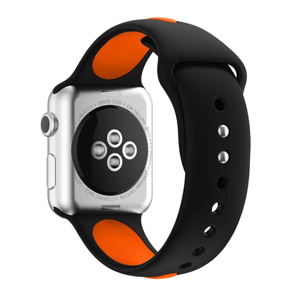 Bilde av Apple Klokkearmbånd Tofarget 38 Mm Laget Av Silikon - Svart Og Oransje
