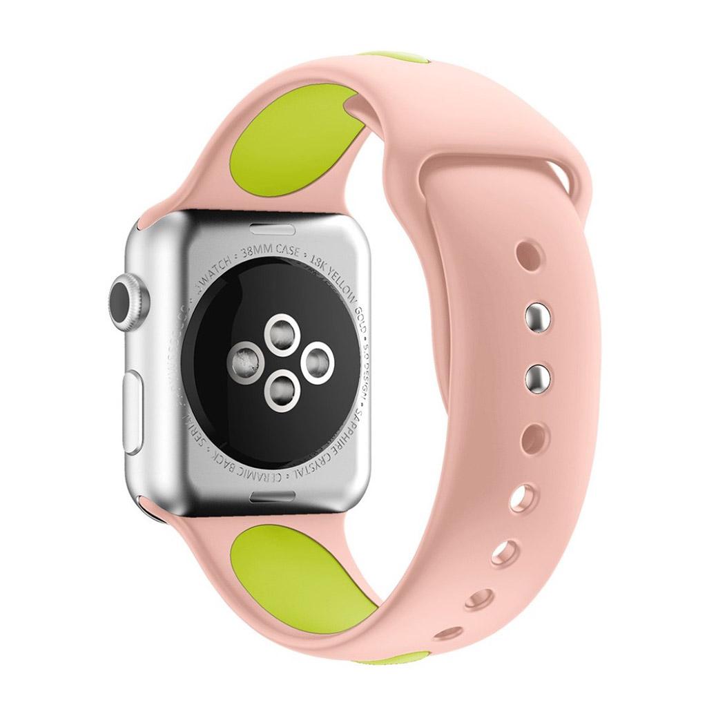 Bilde av Apple Klokkearmbånd Tofarget 38 Mm Laget Av Silikon - Rosa Og Lys Grønn