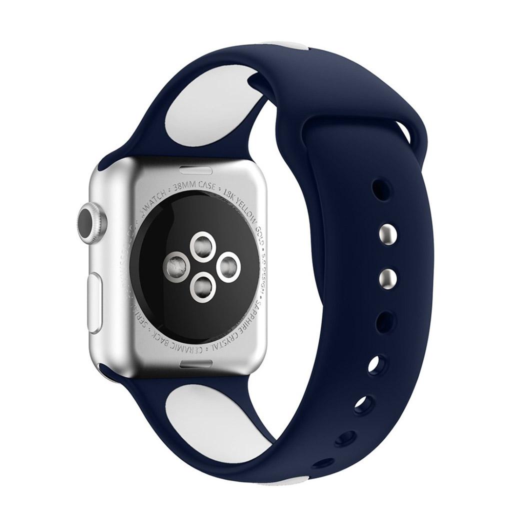 Bilde av Apple Klokkearmbånd Tofarget 38 Mm Laget Av Silikon - Mørk Blå Og Hvit