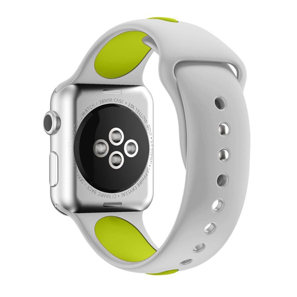 Bilde av Apple Klokkearmbånd Tofarget 38 Mm Laget Av Silikon - Grå Og Lys Grønn